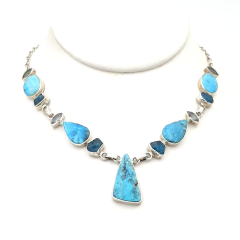 """Levi's and a T-Shirt"" - Turquoise, Apatite, and Topaz Sterling Necklace - 16 inch"