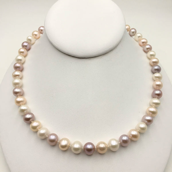 Pinkish Lavender Round Pearl Necklace - 18 inch