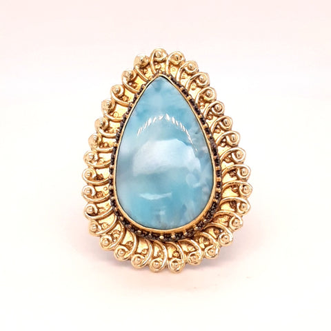 """Hey Sunshine!"" Larimar Ring - Size Adjustable"