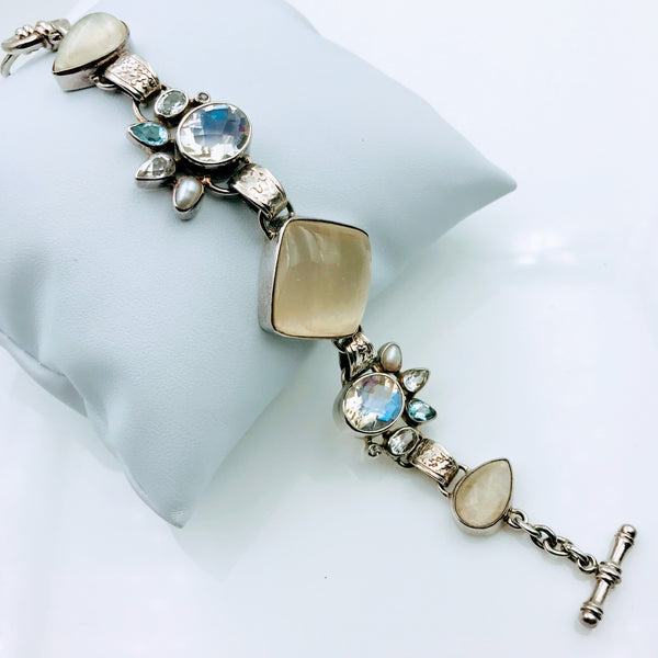 White Gemstone, Topaz and Pearl Sterling Silver Bracelet