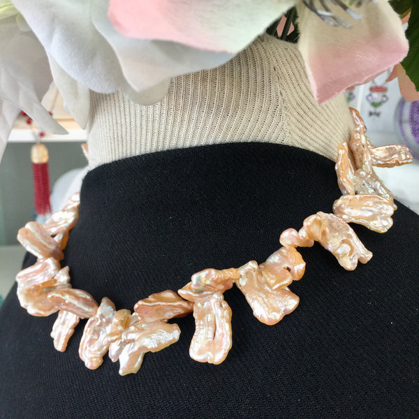 Orange Pink Keishi Pearl Necklace - 18in with 14kt Gold Safety Clasp