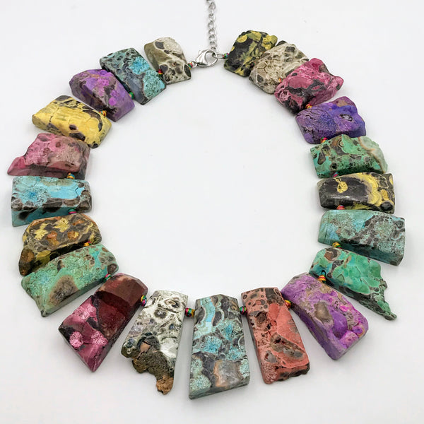 Multi Color Agate Necklace - 17 inch