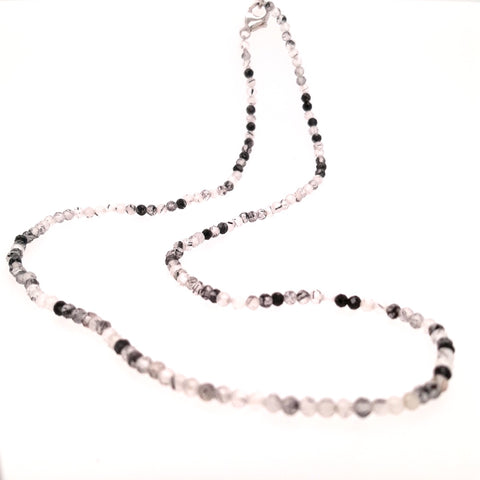 """Salt & Pepper Strand"" - Rutilated Quartz Micro Facet Strand - 16 inch"