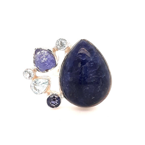 """Show Stopper""-Lapis, Tanzanite and Blue Topaz Sterling Ring - Adjustable"
