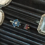 """Shooting Star!"" - Blue Sapphire, Pink Tourmaline and Diamond Ring - Size 6.5"