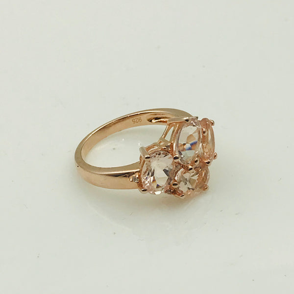 Morganite Cluster Rose Gold Ring - Size 5