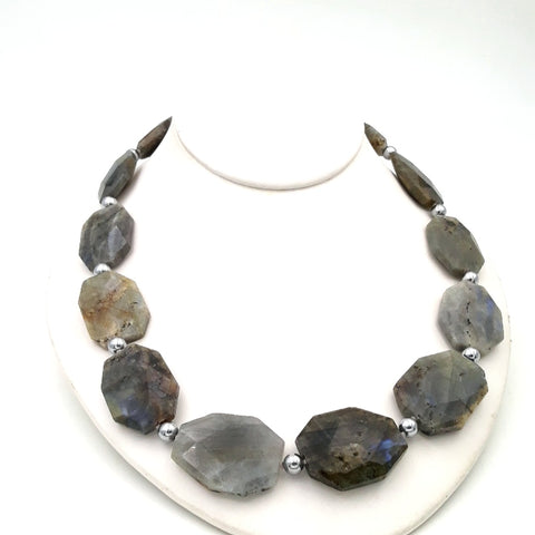 """Stealy Dan-Blues"" - Labradorite Slab Sterling Necklace - 20 inch"
