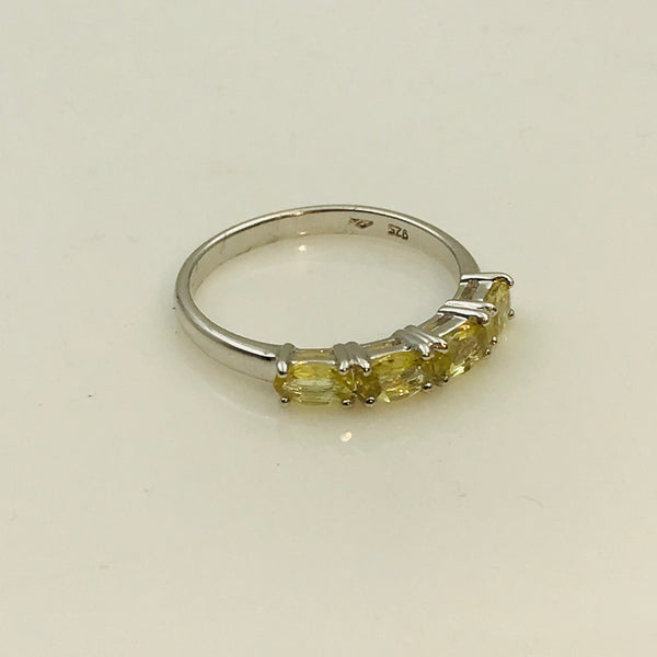 Yellow Gemstone Sterling Silver Ring - Size 6.5
