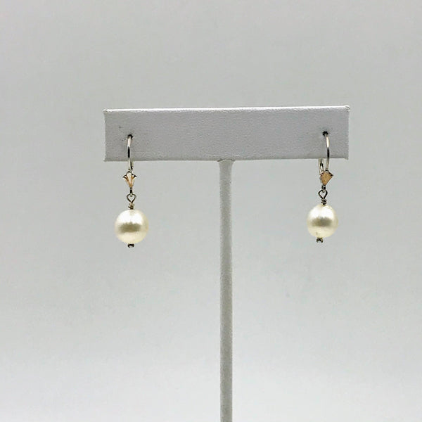 Simple White South Sea Sterling Lever Back Earrings