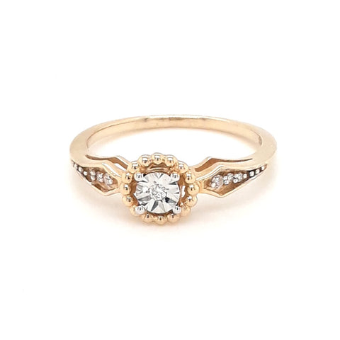 """I Adore You"" -Diamond Gold Ring - Size 6.5"