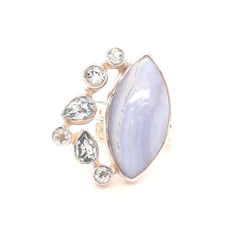 """Periwinkle Sky"" -Blue Lace Agate and Topaz Sterling Ring - Adjustable"