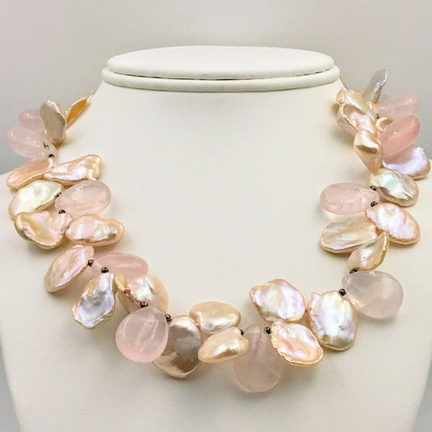 Rose Quartz and Pink Keishi Pedal Pearl Strand Necklace - 17 inch