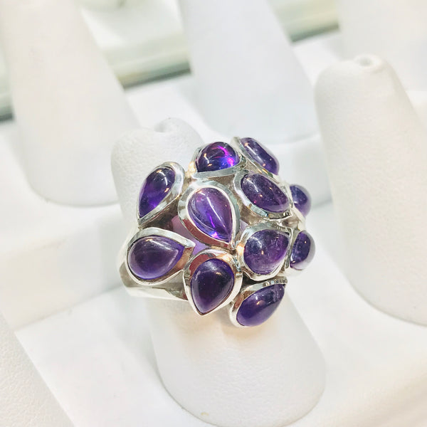 """Violet Dew Drops"" - Amethyst Sterling Silver Ring - Size 7"