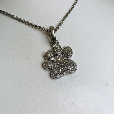 Diamond Paw Sterling 925 Pendant Necklace