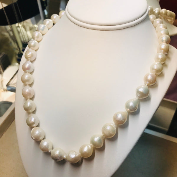 """Steely Dan & White Nights"" - 19 inch White Baroque Pearl Necklace Strand"