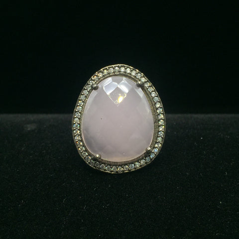 Rose Quartz with Stone Halo Ring - Size 8