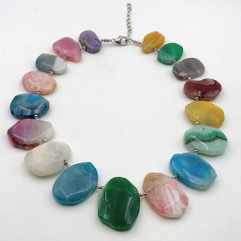 Multi Color Agate Sterling Silver Necklace - 18 inch