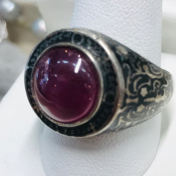 """Red Eye"" -Garnet Sterling Ring - Size 9.5"