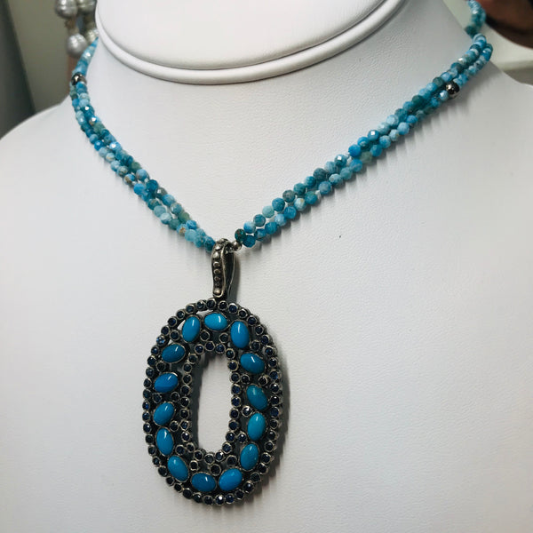 Blue Turquoise and Iolite Pendant Necklace
