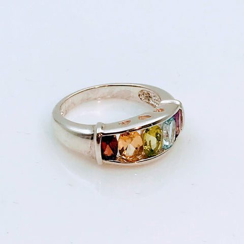 Multi Color Multi Gemstone Sterling Silver Ring - Size 6.5