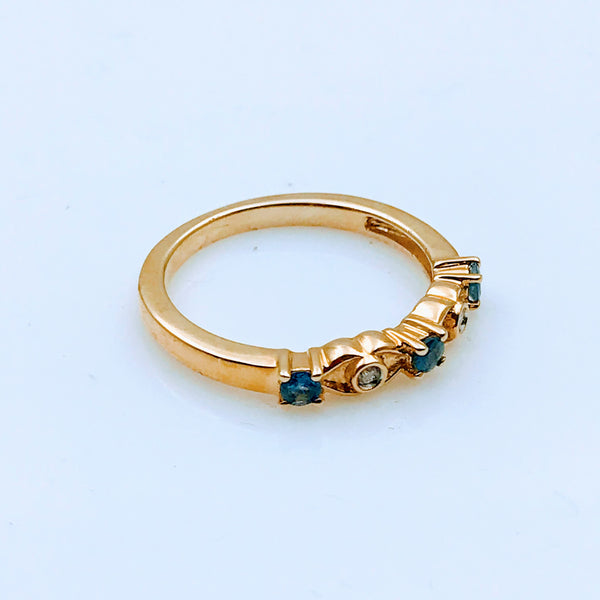 Sapphire and Diamond Gold Ring - Size 7