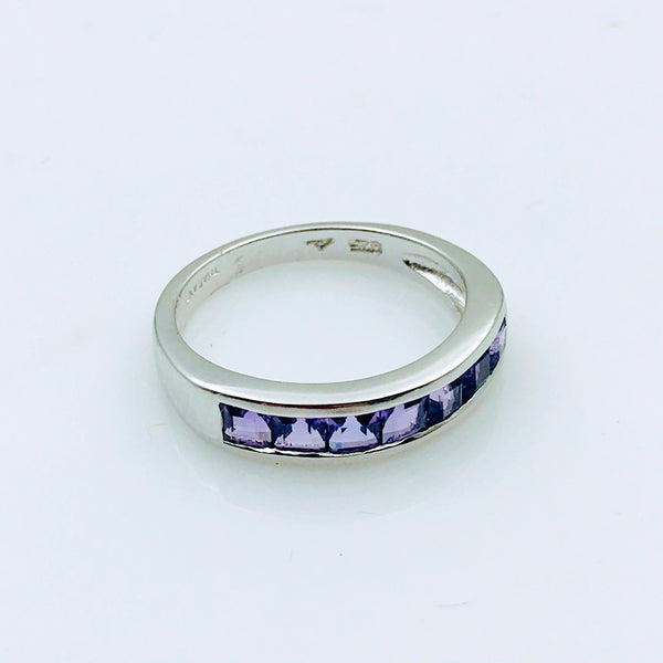 Inline Amethyst Sterling Silver Ring - Size 6.5