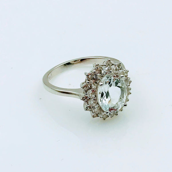 """Bright, Sun-Shiney Day"" - Aquamarine with CZ Halo Sterling Ring - Size 7"