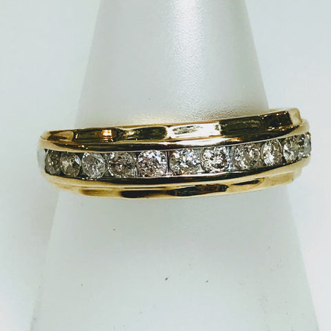 """My Only Sunshine"" - .75 CT TW Diamond Gold Band - Size 10"