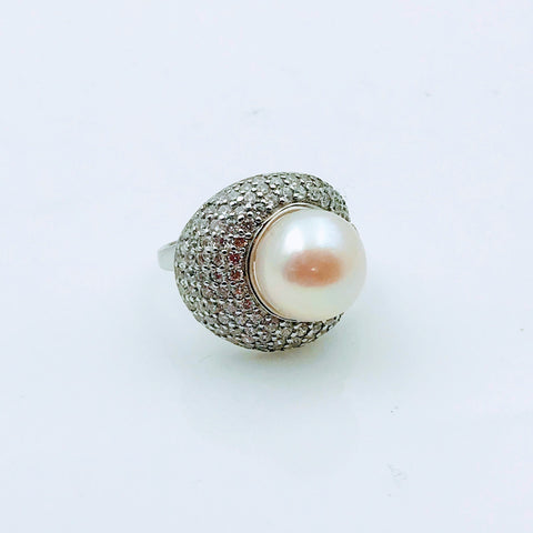 White Pearl and Topaz Sterling Silver Ring - Size 6.5