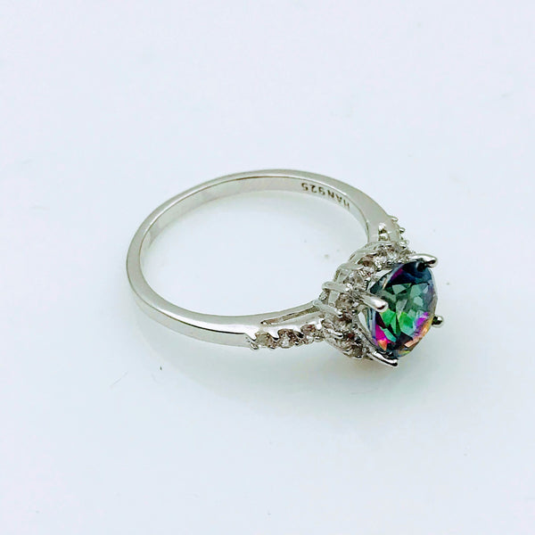 Mystic Cut Gemstone with CZ Halo Sterling Silver Ring- Size 7