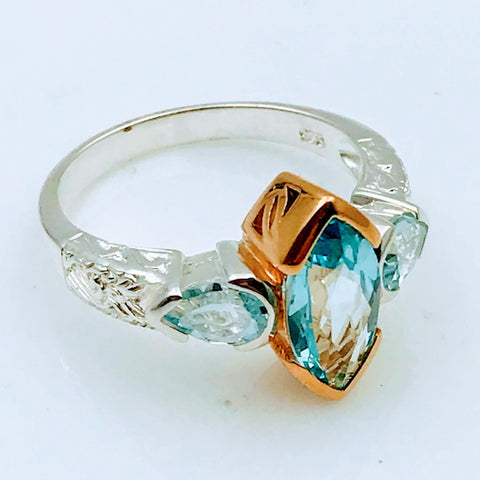"""All Points Pretty"" - Blue Topaz Sterling Silver & 18k Gold Ring - Size 8"