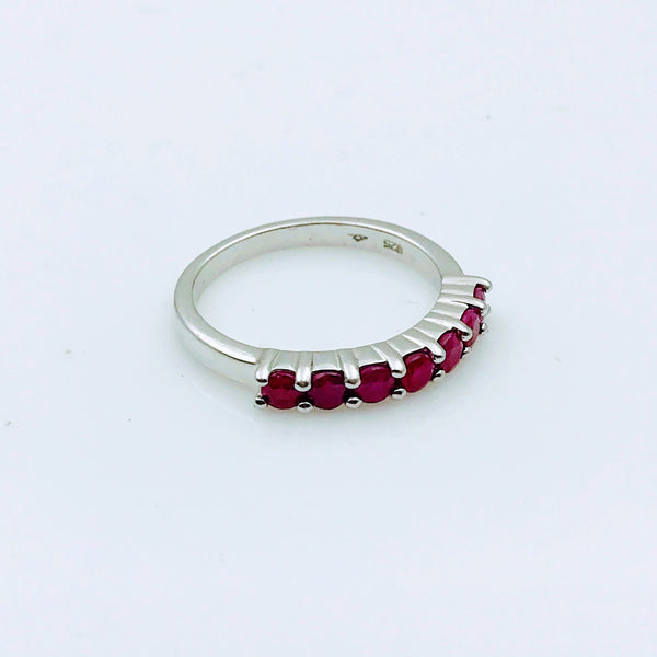 Ruby Sterling Silver Ring - Size 8