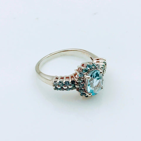 """Hello, My Halo!"" - Blue Topaz Sterling Silver Ring  with Neon Blue Apatite halo - Size 6.5"