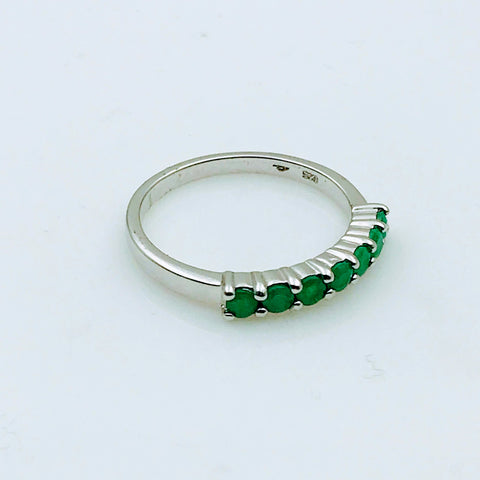 Emerald Sterling Silver Ring - Size 11