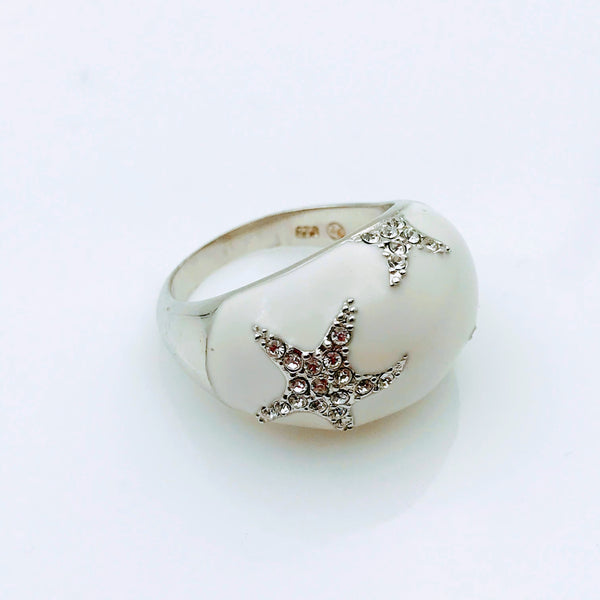 White Enamel and Gemstone Sterling Silver Ring - Size 8