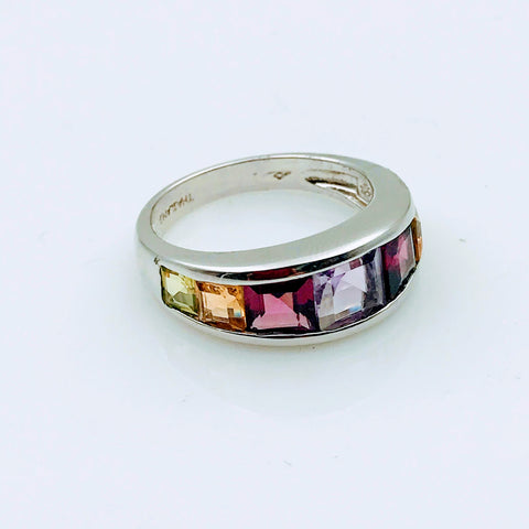 Multi Color Multi Gemstone Sterling Silver Ring - Size 7