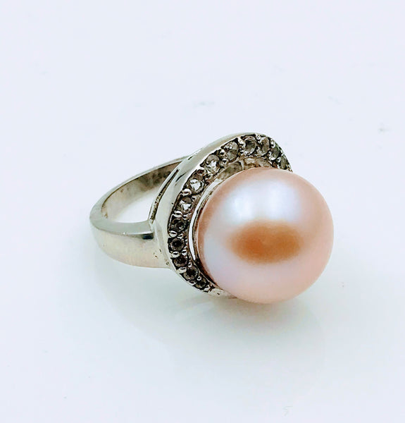 Large 14mm Pinkish Orange Pearl and Topaz Sterling Silver Ring - Size 5