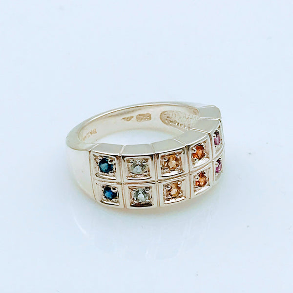 Multi Color Multi Gemstone Sterling Ring - Size 6.5