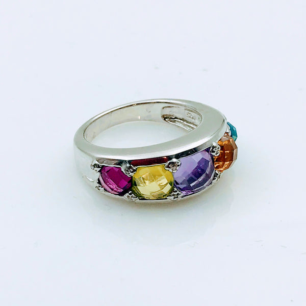 Multi Color Multi Gemstone Sterling Silver Ring - Size 8