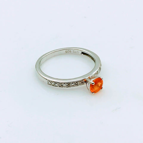 Orange Gemstone and Diamond Sterling Silver Ring - Size 8