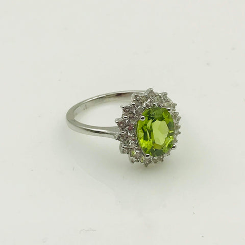 Peridot with CZ Halo Sterling Silver Ring - Size 7