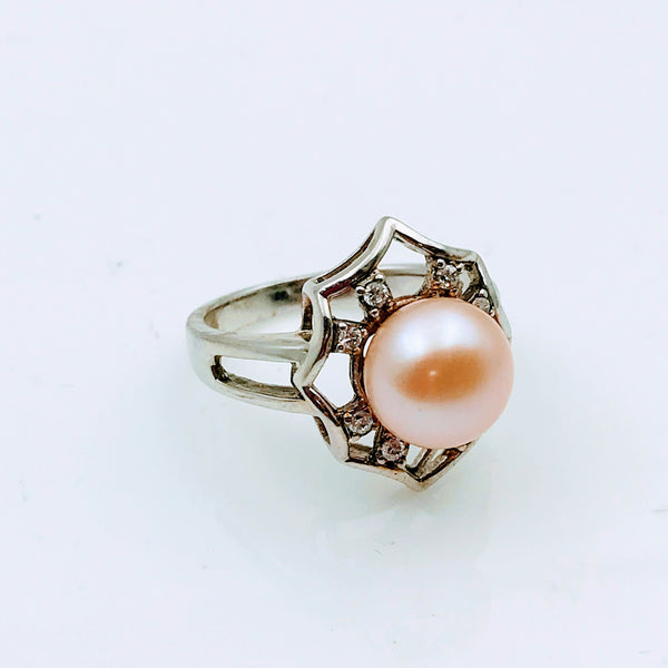 Pinkish Orange Pearl and Topaz Sterling Silver Ring - Size 6.5