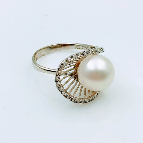 """Star Studded Hood"" - White Pearl with White Topaz Sterling Ring - Size 7"