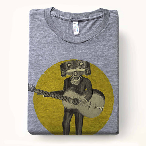 Electric hive head musician with horn mouth of music t-shirt