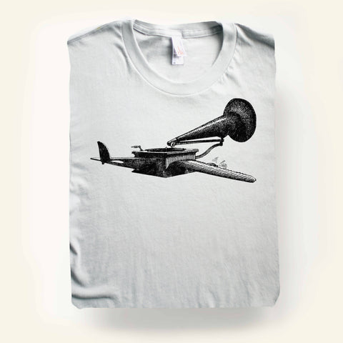 Black Gramophone on Silver t-shirt