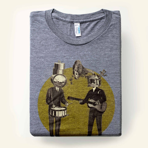 Gramophone flock with drum headed meadow of miracles musician t-shirt