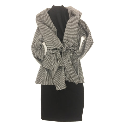 wool wrap jacket coat grey