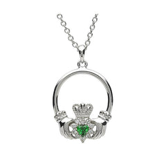 Irish Celtic Claddagh With Green Stone