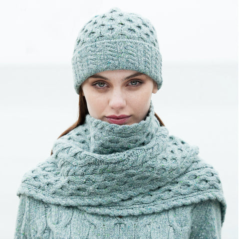Traditional Irish Aran Hat and Scarf Set