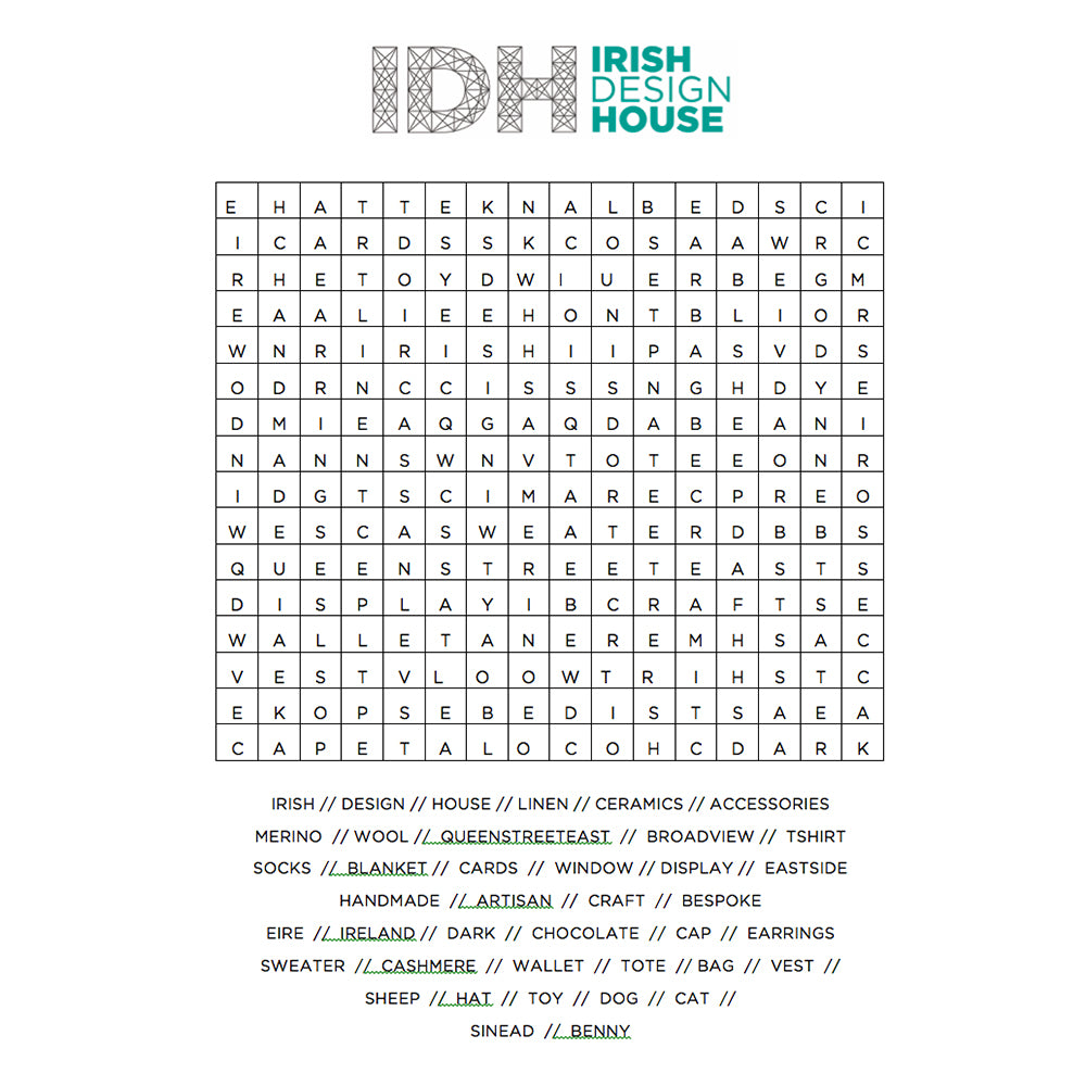 IDH wordsearch find the words